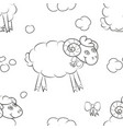 cute sheep in the clouds vector image vector image