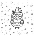 cute sleeping owl in entangle style coloring page vector image vector image