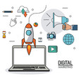 digital marketing laptop innovation internet vector image
