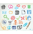 doodle web icons vector image vector image