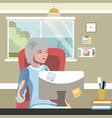 elderly woman work on computer vector image vector image