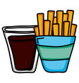 french frieds with soda fast food icon vector image