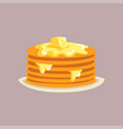 fresh tasty pancakes with butter on a plate vector image vector image