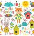 funny spring seamless pattern with cute animals vector image vector image