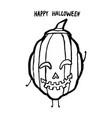 grunge ink hand-drawn simple pumpkin cute cartoon vector image