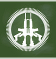 gun and bullet in peace symbol on green board vector image