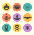 halloween isolated round colored icons vector image vector image
