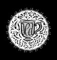 hand drawn badge with of lettering and a cup of vector image