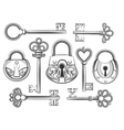 Hand drawn vintage key and lock set vector image