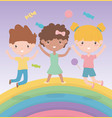 happy children day cute little girls and boy vector image vector image