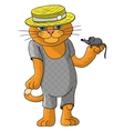 Hilarious cat in a straw hat vector image vector image