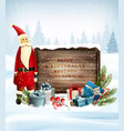 holiday christmas background with santa claus and vector image