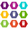 litter waste bin icon set color hexahedron vector image vector image