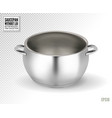 metal saucepan without lid realistic 3d vector image vector image