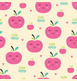 pink apples seamless pattern vector image