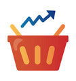 price hike shopping basket with arrow up vector image vector image