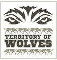 Retro ornament - running wolves and inscriptions vector image