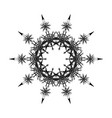 round black mandala snowflakes vector image
