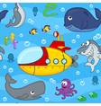 seamless pattern undersea world vector image vector image