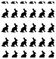 seamless pattern with black rabbits on a white vector image vector image