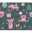 seamless pattern with cute piglets flowers vector image vector image