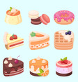 set of delicious sweets and desserts vector image vector image