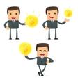 set of funny cartoon businessman vector image vector image