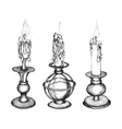 Set of hand drawn candles vector image vector image