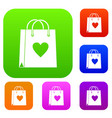 shopping bag set color collection vector image vector image