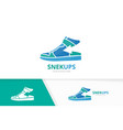 sneaker and arrow up logo combination shoe vector image
