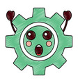 suprised gear kawaii icon image vector image vector image