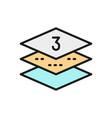 Three-layer napkin paper flat color line icon