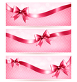 Three pink holiday banners with gift glossy bow vector image