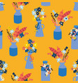 vases with summer wildflowers seamless vector image