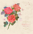 Vintage invitation card with bouquet of roses with