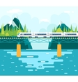 Wagons on Bridge over River Tourism and Journey vector image