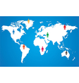 White world map on blue background wint pictogram vector image vector image