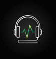 wired headphones with green sound wave vector image