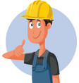 worker wearing protective hard hat holding vector image