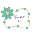 frame of beads and flower vector image