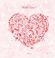 invitation card with a red foliage heart for your vector image
