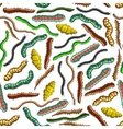 Seamless colorful crawling insects pattern vector image