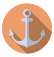 Flat design modern of anchor icon with long shadow vector image