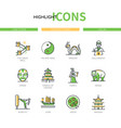 ancient china - modern line design style icons set vector image