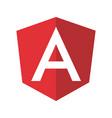 angular emblem white letter on red bg