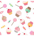 birthday seamless pattern background with cupcakes vector image vector image