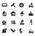 black professional car wash objects and icons vector image vector image