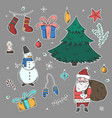 bright stickers set of doodle christmas elements vector image
