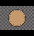 Brown leather circle on gray weave