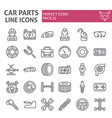 car parts line icon set automobile symbols